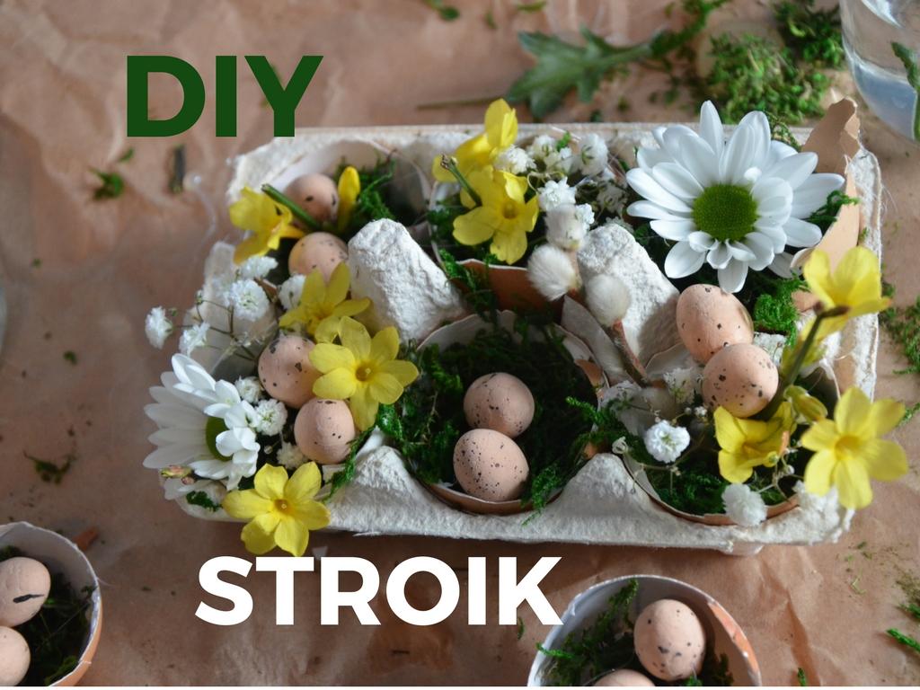 Stroik w wytłaczankach ze skorupek jajka i kwiatów DIY